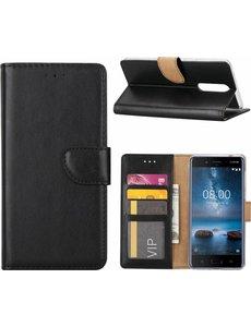 Merkloos Nokia 6 Portemonnee hoesje / book case Zwart