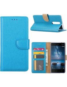 Merkloos Nokia 8 Portemonnee hoesje / book case Blauw