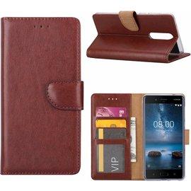 Merkloos Nokia 8 Portemonnee hoesje / book case Bruin