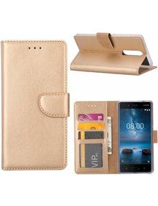 Merkloos Nokia 8 Portemonnee hoesje / book case Champange Goud