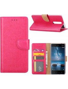 Merkloos Nokia 8 Portemonnee hoesje / book case Pink