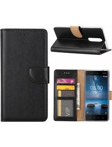 Merkloos Nokia 8 Portemonnee hoesje / book case Zwart