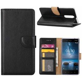 Merkloos OnePlus 5 cover Portemonnee hoesje / book case Zwart