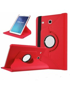 Merkloos Rood Samsung Galaxy Tab E 9,6 inch Tablet Case hoesje met 360? draaistand cover hoes