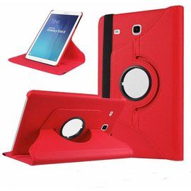 Merkloos Rood  Galaxy  Tab E 9,6 inch Tablet Case hoesje met 360ᄚ draaistand cover hoes