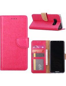 Merkloos Samsung Galaxy A8 (2018) Portmeonnee hoesje / book style case Pink