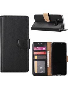 Merkloos Samsung Galaxy S8 Booktype / Portemonnee lederen hoesje zwart