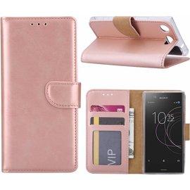Merkloos Sony Xperia XZ1 Portemonnee hoesje / book case Rose Goud