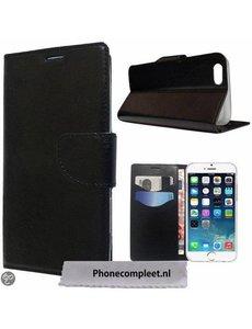 Merkloos iPhone 6 / iPhone 6S (4, 7 inch) Wallet Boek Case Lederen Hoesje Zwart