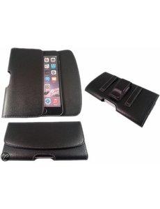 Merkloos iPhone 6 Plus / iPhone 6S Plus / 7 Plus / iPhone 8 Plus Riem holster case hoesje zwart