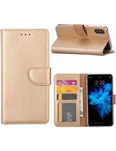 Merkloos iPhone X / Xs (10) Portemonnee hoesje / book case Champange Goud