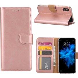 Merkloos iPhone X / Xs (10) Portemonnee hoesje / book case Rose Goud