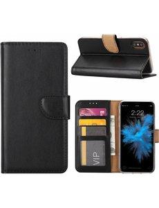 Merkloos iPhone X / Xs (10) Portemonnee hoesje / book case Zwart