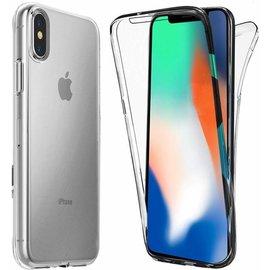 Merkloos iPhone X / Xs Dual TPU Case hoesje 360° Cover 2 in 1 Case ( Voor en Achter) Transparant