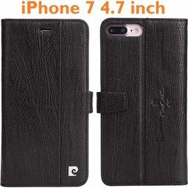 Pierre Cardin Pierre Cardin Echt Leer cover  iPhone 7 / iPhone 8 (4.7 inch) hoesje   Lederen Book Case Zwart   BookCase