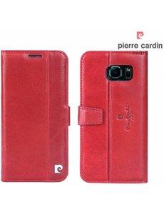 Pierre Cardin Pierre Cardin Samsung Galaxy S6 Edge echt leer boek case hoesje met ruimte voor pasje en 2 simkaarten Rood