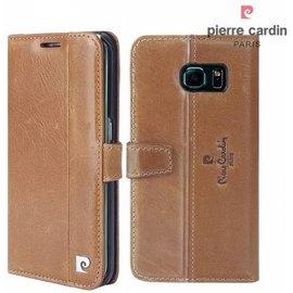Pierre Cardin Pierre Cardin Samsung Galaxy S6 Edge echt leer boek case hoesje met ruimte voor pasje en 2 simkaarten Bruin