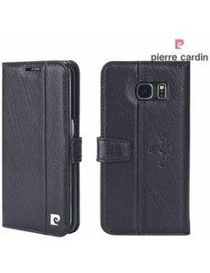 Pierre Cardin Pierre Cardin Samsung Galaxy S6 echt leer boek case hoesje met ruimte voor pasje en 2 simkaarten Zwart