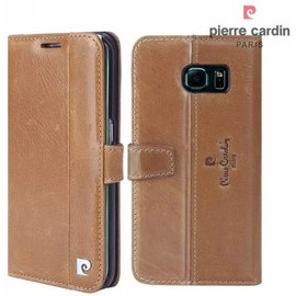 Pierre Cardin Pierre Cardin Samsung Galaxy S7 Edge echt leer boek case hoesje met ruimte voor pasje en 2 simkaarten Bruin