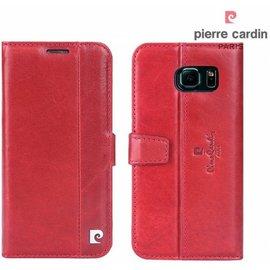 Pierre Cardin Pierre Cardin Samsung Galaxy S7 Edge echt leer boek case hoesje met ruimte voor pasje en 2 simkaarten Rood