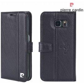 Pierre Cardin Pierre Cardin Samsung Galaxy S7 Edge echt leer boek case hoesje met ruimte voor pasje en 2 simkaarten Zwart