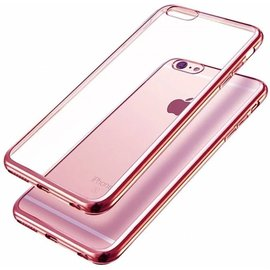 Merkloos Samaung Galaxy S7 Edge Lichtgewicht TPU Soft Crystal Clear rug en galvaniseren Plating TPU bumper Rose Goud