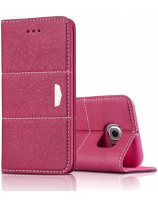 Xundd Samsung Galaxy S6 Edge Plus XUNDD? Eagle Series Slim Fit Echt Leer wallet Cover Case Hoesje met stand Pink - nTech