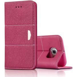 Xundd Samsung Galaxy S6 Edge Plus  XUNDD� Eagle Series Slim Fit Echt Leer wallet Cover Case  Hoesje met stand Pink - nTech