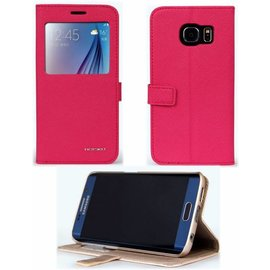 Nouku Samsung Galaxy S6 Edge flip leather hoesje window view legend met stand Pink / Rose + Screen Protector