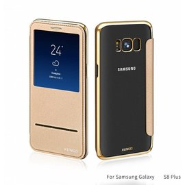 Merkloos Samsung Galaxy S8+ (Plus) window view folio flip cover (slide to answer) hoesje Champagne Goud