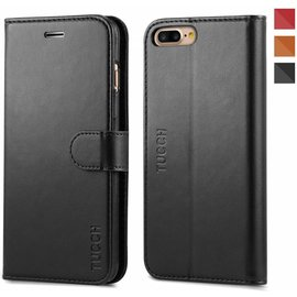 Tucch Tucch Apple iPhone 8 / 7 - Lederen TPU Wallet Case Zwart - Portemonee Hoesje - Book Case