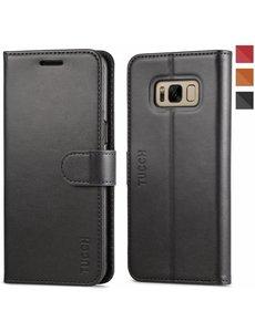 Tucch Tucch Samsung Galaxy S8 - Lederen TPU Wallet Case Zwart - Portemonee Hoesje - Book Case