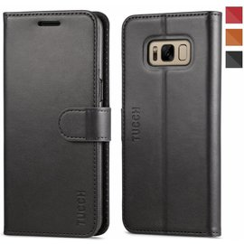 Tucch Tucch Samsung Galaxy S8 Plus - Lederen TPU Wallet Case Zwart - Portemonee Hoesje - Book Case