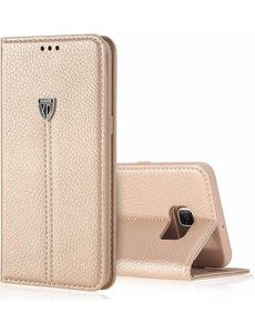 Xundd XUNDD Noble Slim Fit PU leather wallet Case Hoesje met stand voor Samsung Galaxy S7 Edge - Goud