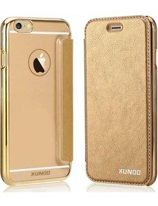 Xundd Xundd iPhone SE / 5 / 5S Folio Flip PU Leather hoesje met hard transparant backcover Goud