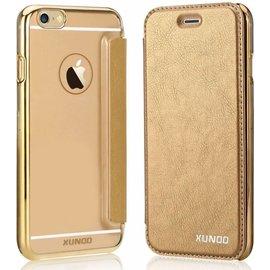 Xundd Xundd iPhone SE / 5 / 5S  Folio Flip PU Leather hoesje met hard transparant back cover Goud