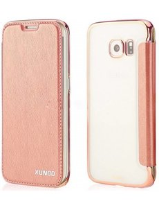 Xundd Xundd Samsung Galaxy S6 Folio semi transparant PU leather flip cover hoesje Rose Goud
