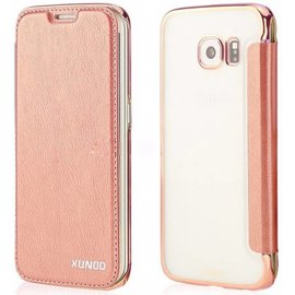 Xundd Xundd Galaxy S6 Folio semi transparant PU leather flip cover hoesje Rose Goud