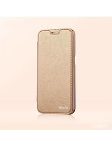 Xundd Xundd Samsung Galaxy S7 Edge PU leather flip folio hoesje met transparant backcover Goud