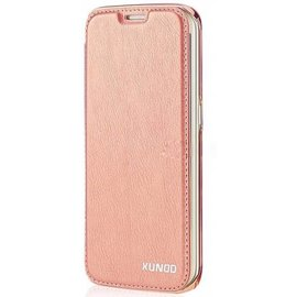 Xundd Xundd Galaxy S7 Edge PU leather flip folio hoesje met transparant back cover Rose Goud