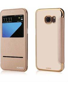 Xundd Xundd Samsung Galaxy S7 Edge Flip Folio Peik Window View Case Cover Hoesje Champagne Goud