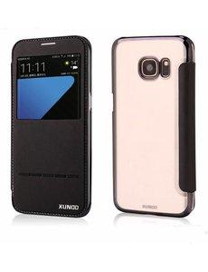 Xundd Xundd Samsung Galaxy S7 Edge Flip Folio Peik Window View Case Cover Hoesje Zwart