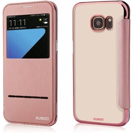 Xundd Xundd Samsung Galaxy S7 Folio Flip Window View Peik Series Case Hoesje Rose Goud