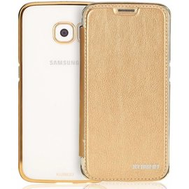 Xundd Xundd Samsung Galaxy S8 Folio Flip hoesje + Pasjes met ultra Dunne transparant TPU back cover Champagne Goud