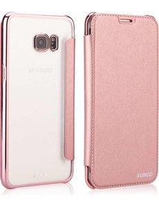 Xundd Xundd Samsung Galaxy S8 Folio Flip hoesje + Pasjes met ultra Dunne transparant TPU backcover Rose Goud