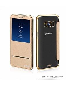 Xundd Xundd Samsung Galaxy S8 window view folio flip case (slide to answer) hoesje Champagne Goud
