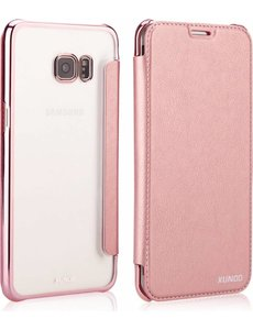 Xundd Xundd Samsung Galaxy S8 Plus Folio Flip Hoesje + Pasjes Met Ultra Dunne Transparant TPU Cover Rose Goud