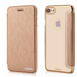 Xundd Xundd iPhone 8 / 7 Folio Flip PU Leather Hoesje + Pasje & Hard Transparant Back Cover Champagne Goud