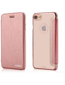 Xundd Xundd iPhone 7 / iPhone 8 (4.7 inch) Folio Flip PU Leather hoesje + Pasje met transparant hard backcover Rose Goud