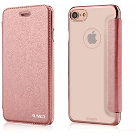 Xundd Xundd iPhone 7 / iPhone 8 (4.7 inch) Folio Flip PU Leather hoesje + Pasje met transparant hard back cover Rose Goud